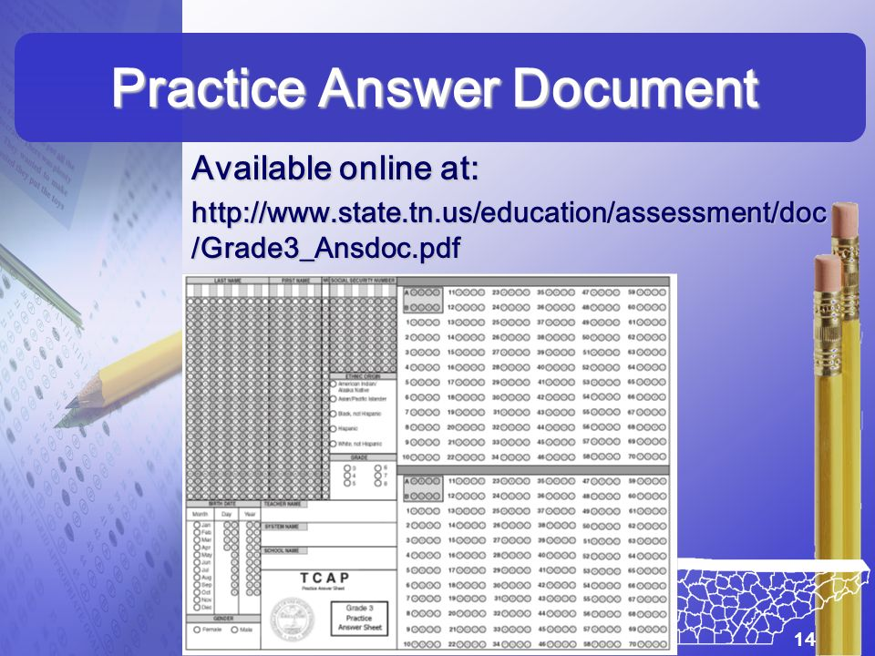 Practice Answer Document Available online at: http://www.state.tn.us/education/assessment/doc /Grade3_Ansdoc.pdf 14
