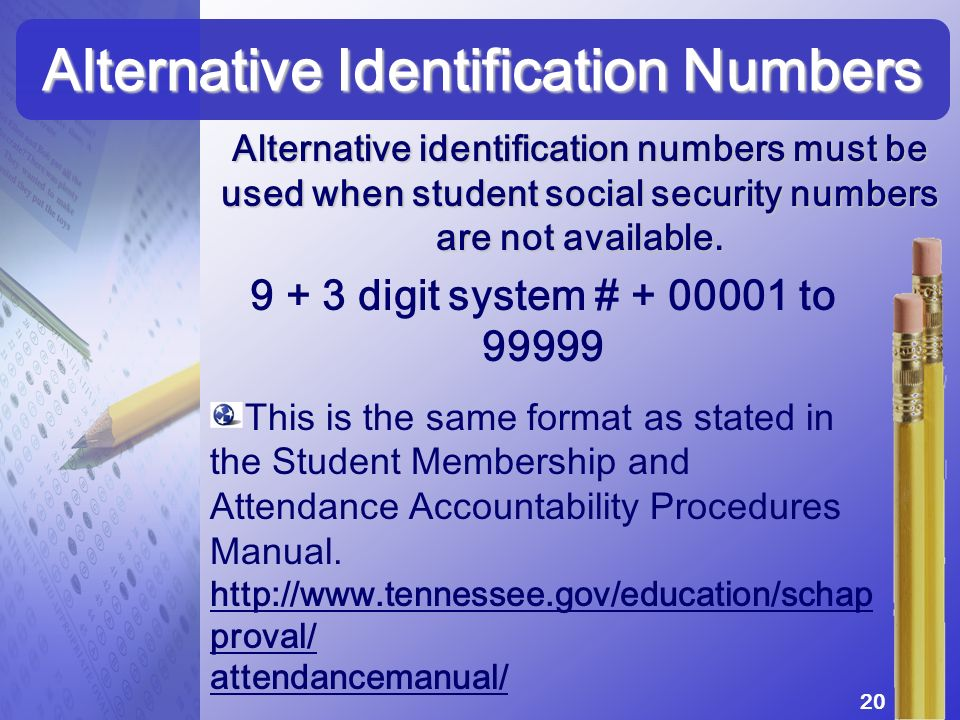 Alternative identification numbers must be used when student social security numbers are not available. Alternative Identification Numbers 9 + 3 digit