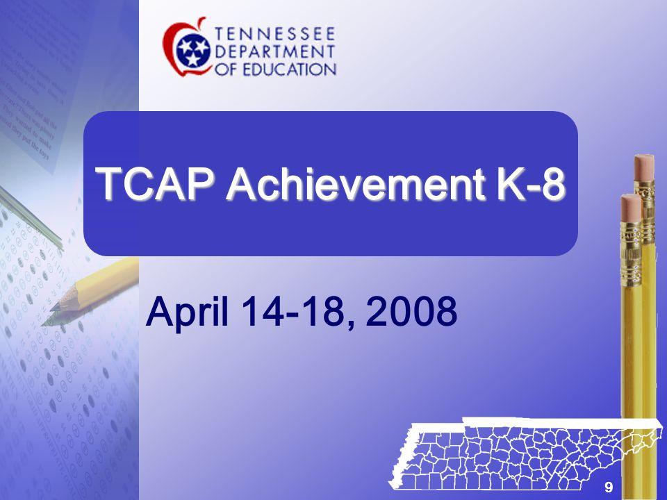 April 14-18, 2008 TCAP Achievement K-8 9