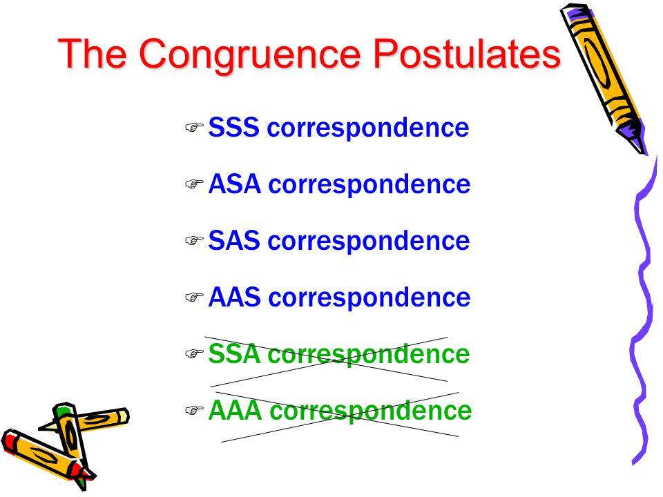 The Congruence Postulates SSS correspondence ASA correspondence SAS correspondence AAS correspondence SSA correspondence AAA correspondence