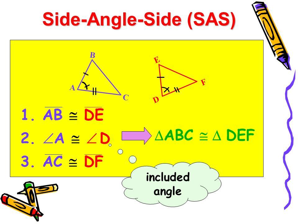 Side-Angle-Side (SAS) 1. AB DE 2. A D 3. AC DF ABC DEF B A C E D F included angle
