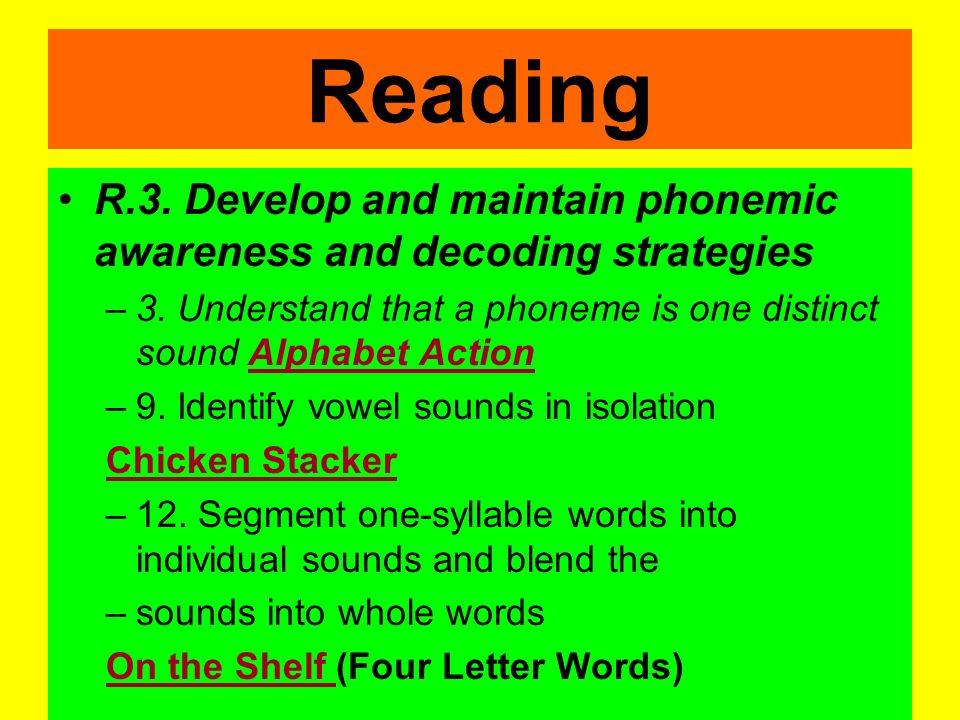 Reading R.1. Develop oral language and listening skills –11. Engage verbally with stories in books, television, and movies Elmos Story (click bookshel