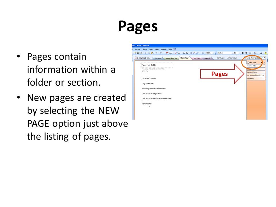 Pages Pages contain information within a folder or section.