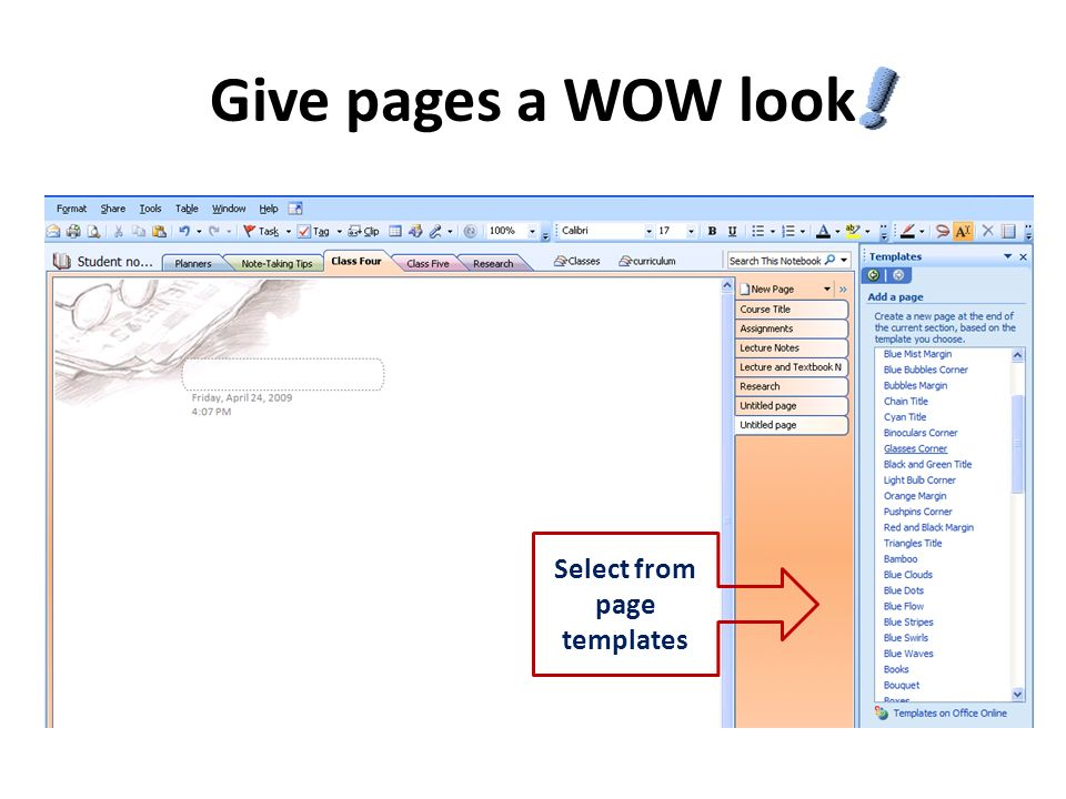 Give pages a WOW look Select from page templates