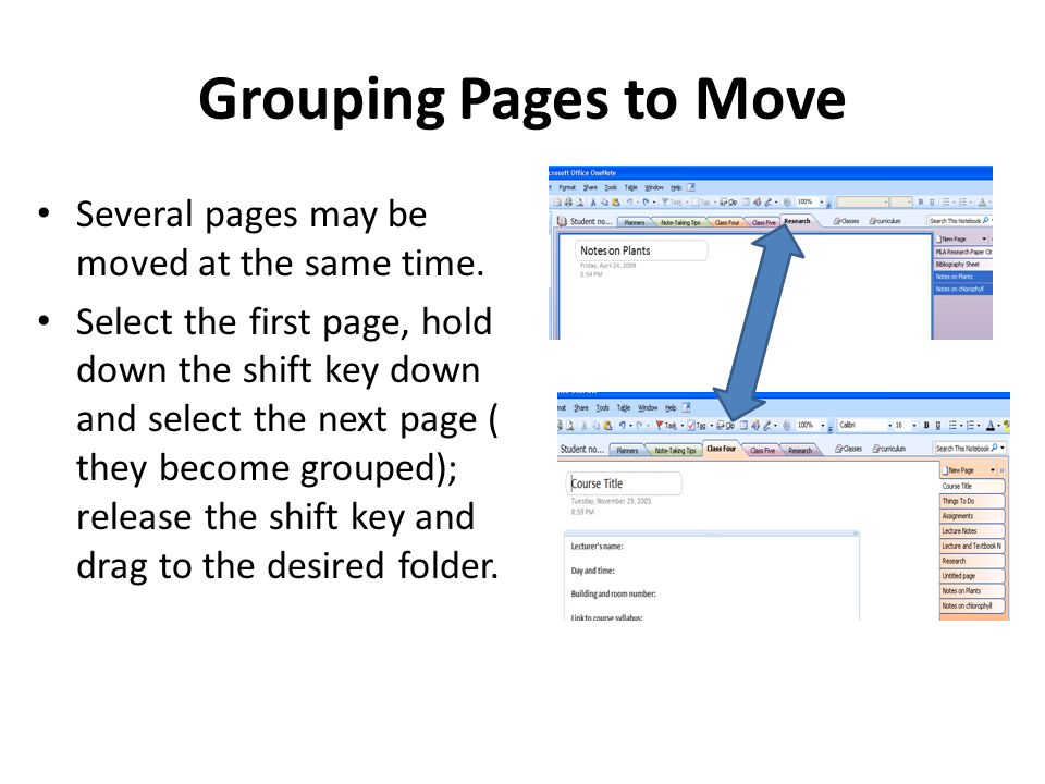 Grouping Pages to Move Several pages may be moved at the same time.