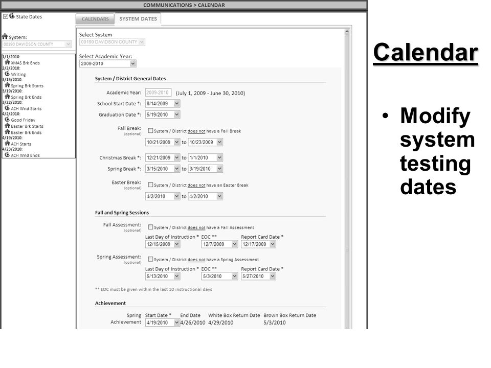 Calendar Modify system testing dates