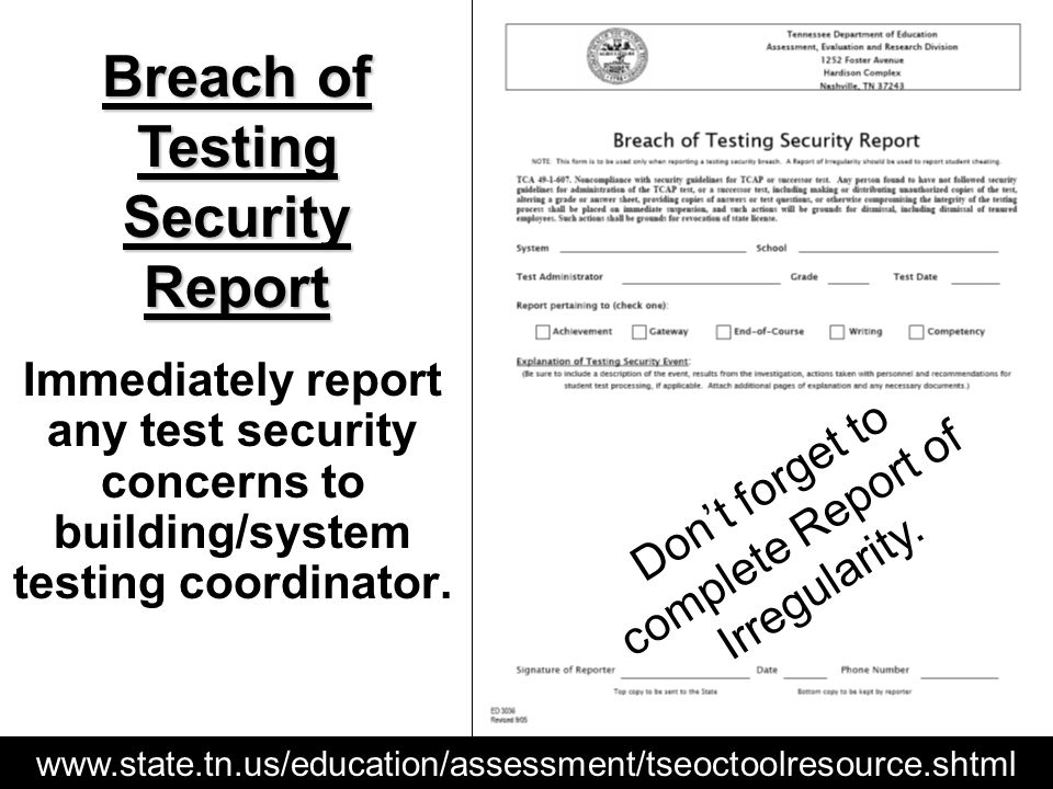 www.state.tn.us/education/assessment/tseoctoolresource.shtml Dont forget to complete Report of Irregularity. Breach of Testing Security Report Immedia