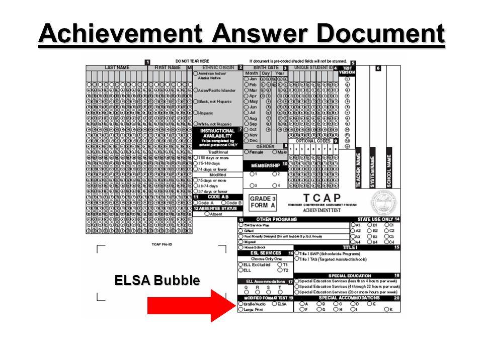 Achievement Answer Document ELSA Bubble
