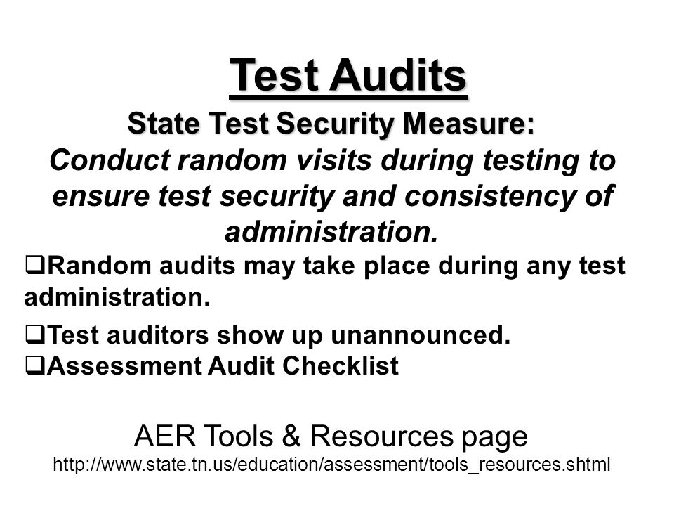 Test Audits State Test Security Measure: Conduct random visits during testing to ensure test security and consistency of administration. Random audits