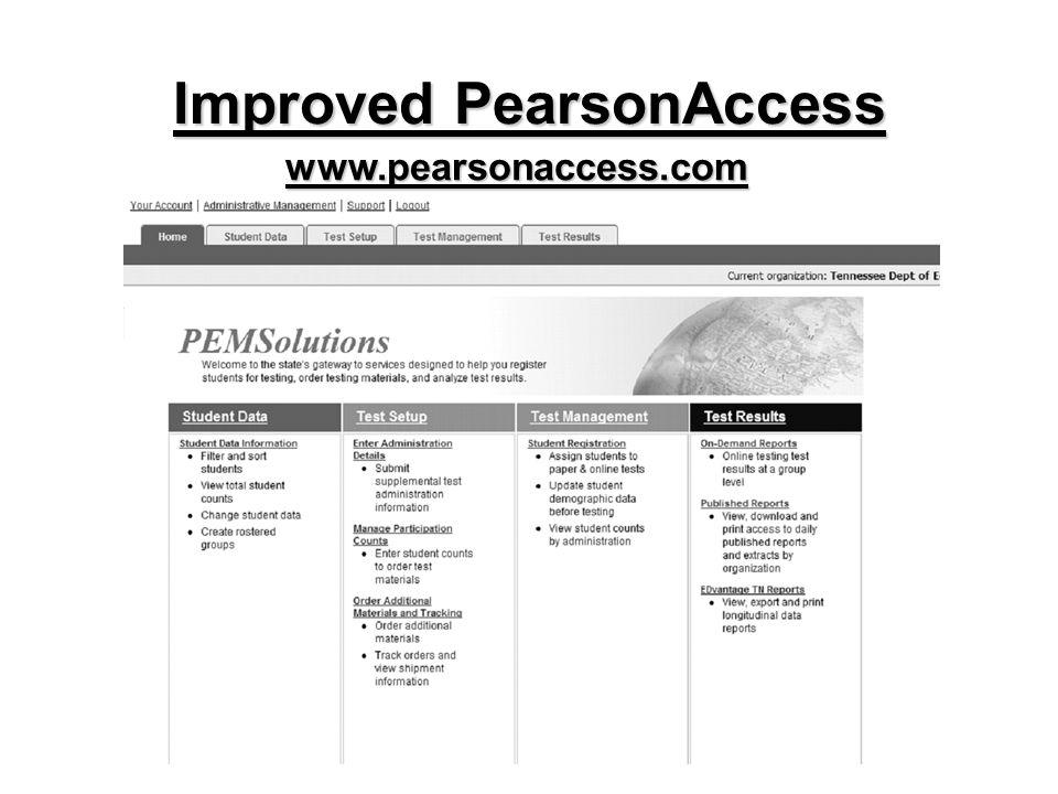 Improved PearsonAccess www.pearsonaccess.com