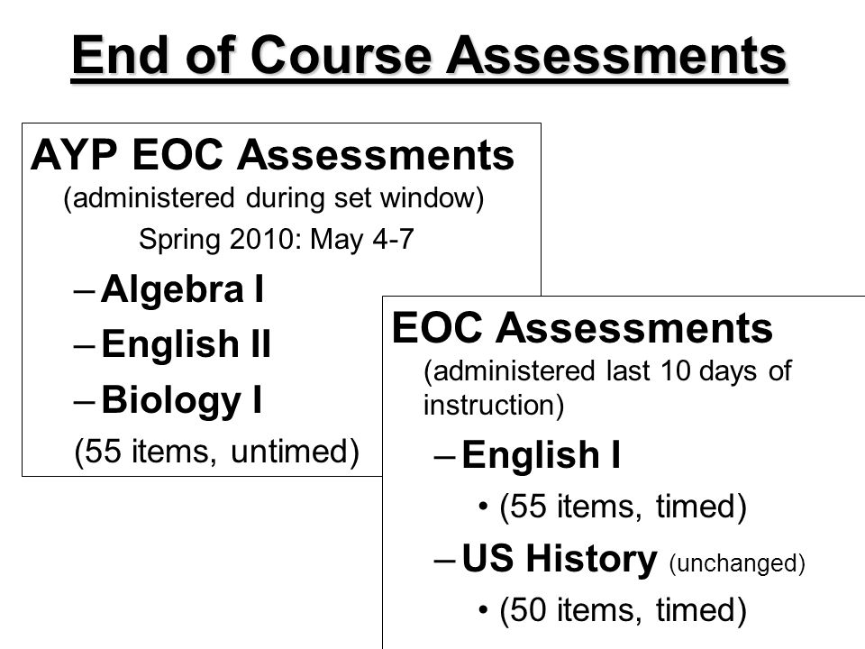 End of Course Assessments AYP EOC Assessments (administered during set window) Spring 2010: May 4-7 –Algebra I –English II –Biology I (55 items, untimed) EOC Assessments (administered last 10 days of instruction) –English I (55 items, timed) –US History (unchanged) (50 items, timed)
