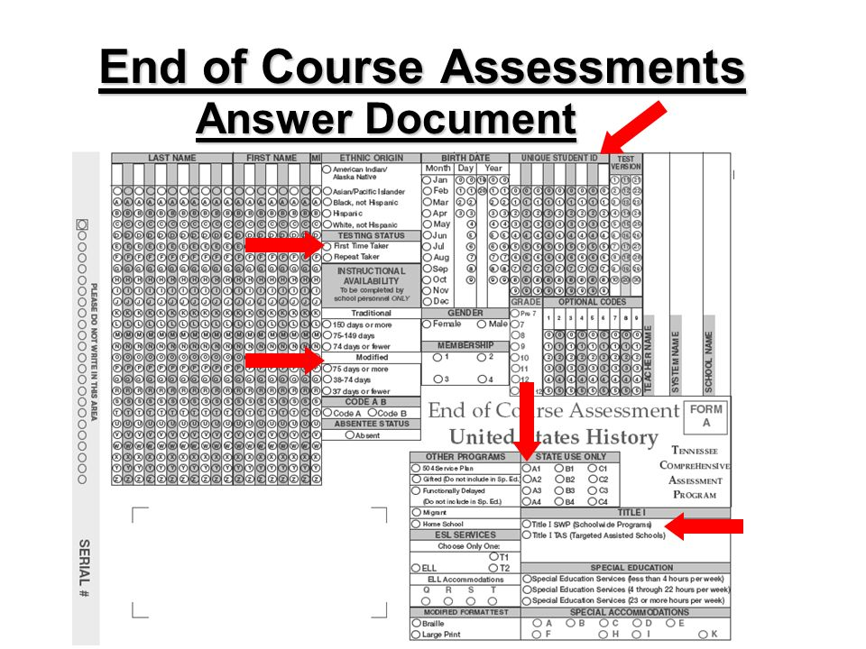 End of Course Assessments Answer Document