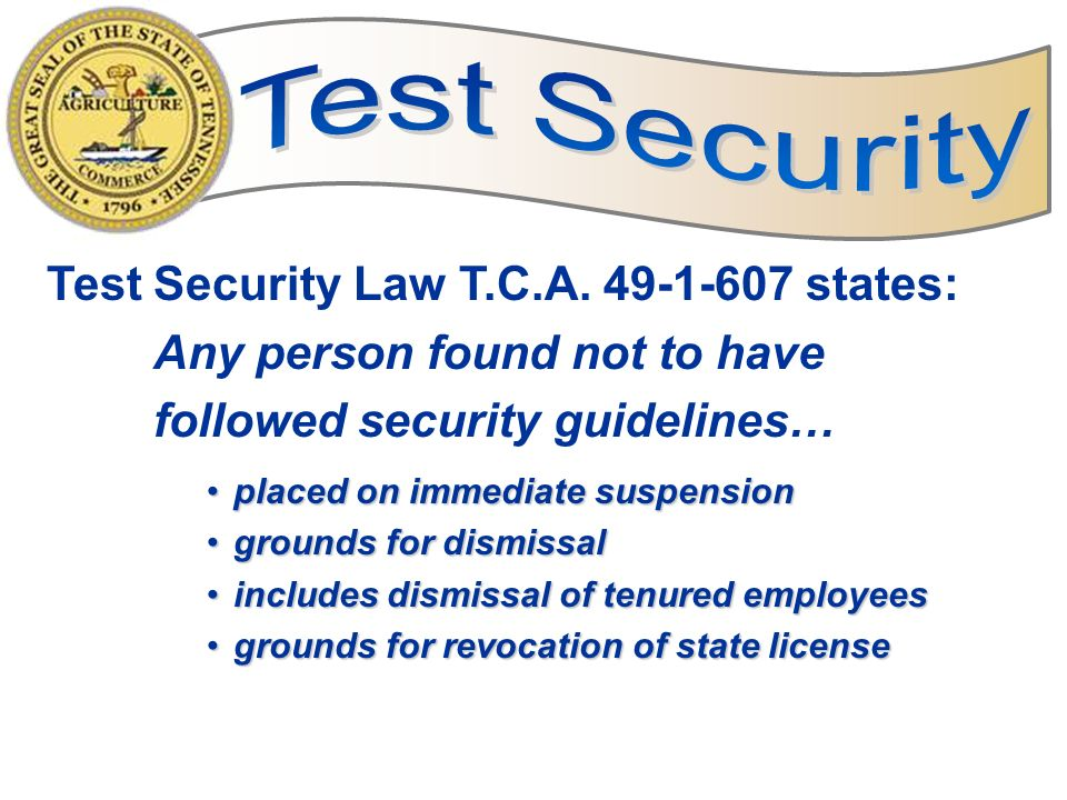 13 Breach Document test security concerns, including missing materials, on the Breach of Testing Security Report form.