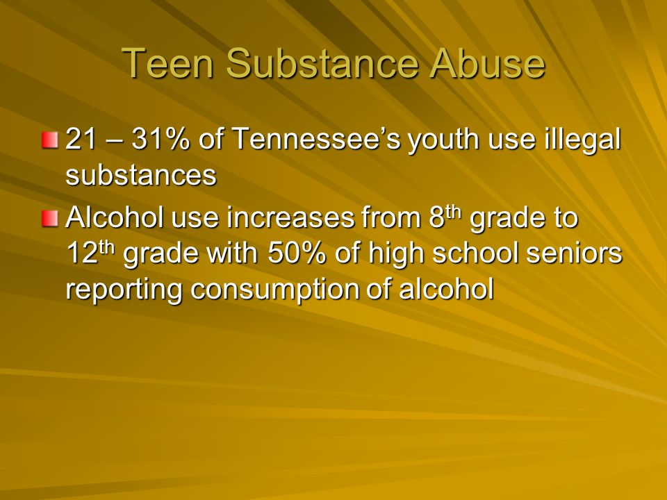 Teen Substance Abuse 21 – 31% of Tennessees youth use illegal substances Alcohol use increases from 8 th grade to 12 th grade with 50% of high school seniors reporting consumption of alcohol