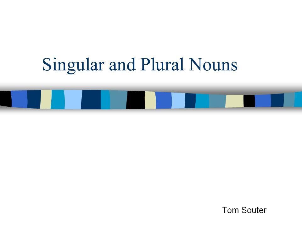 Singular and Plural Nouns Tom Souter