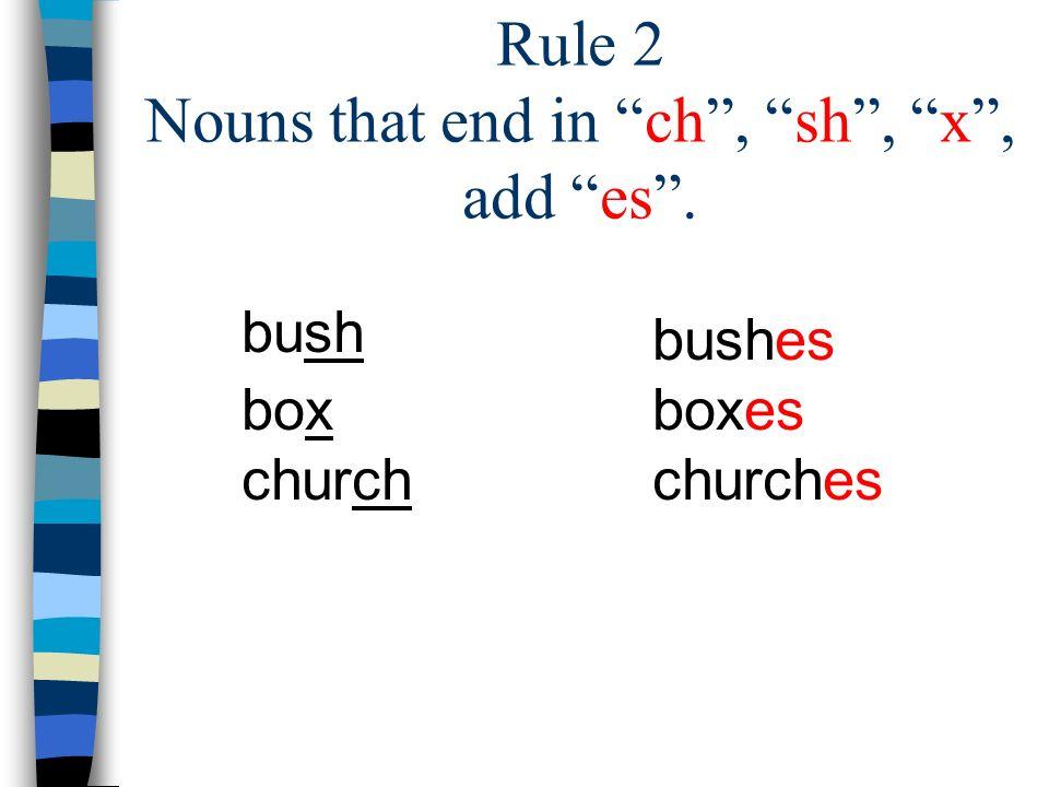 Rule 2 Nouns that end in ch, sh, x, add es. bush box church bushes boxes churches