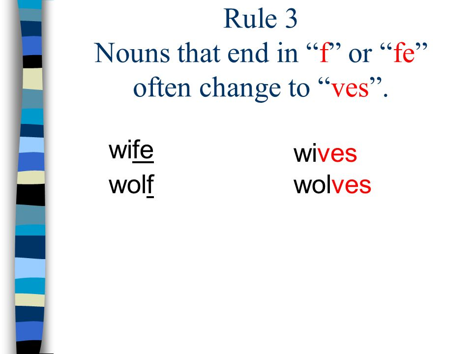 Rule 4 Some nouns change the inside spelling. man goose men geese mousemice