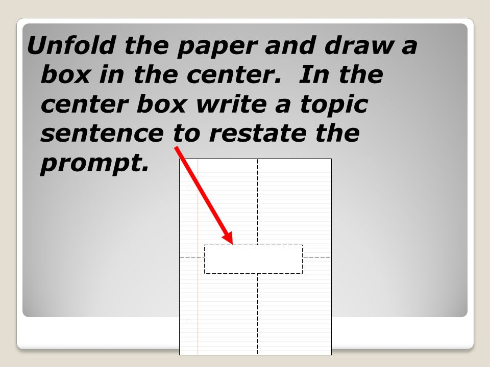 Unfold the paper and draw a box in the center.