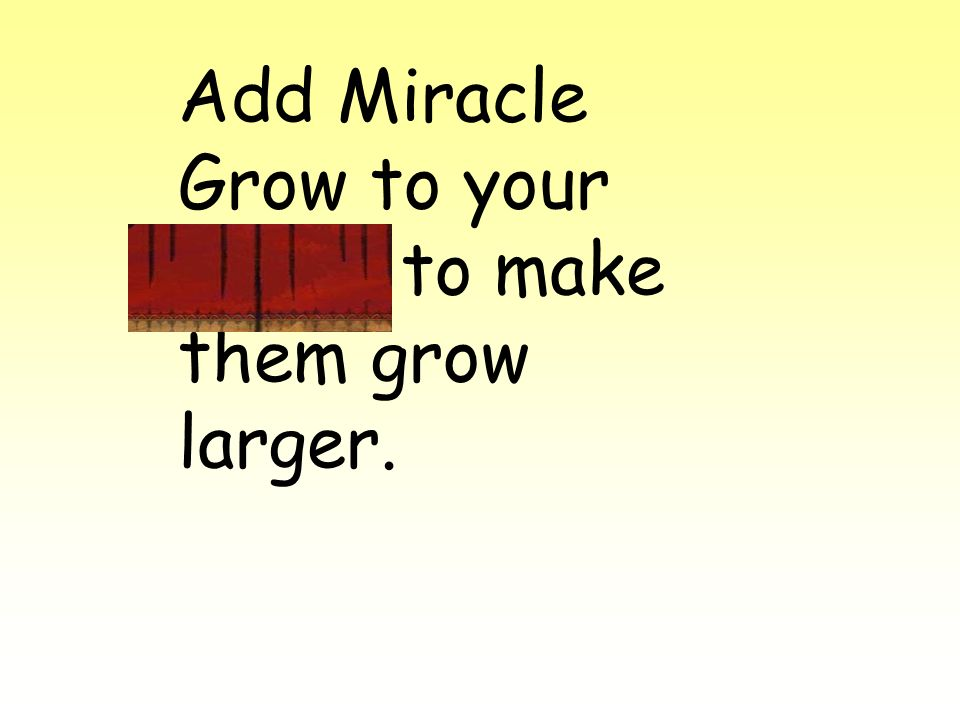 Add Miracle Grow to your plants to make them grow larger.