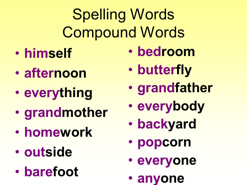Spelling Words Compound Words himself afternoon everything grandmother homework outside barefoot bedroom butterfly grandfather everybody backyard popcorn everyone anyone