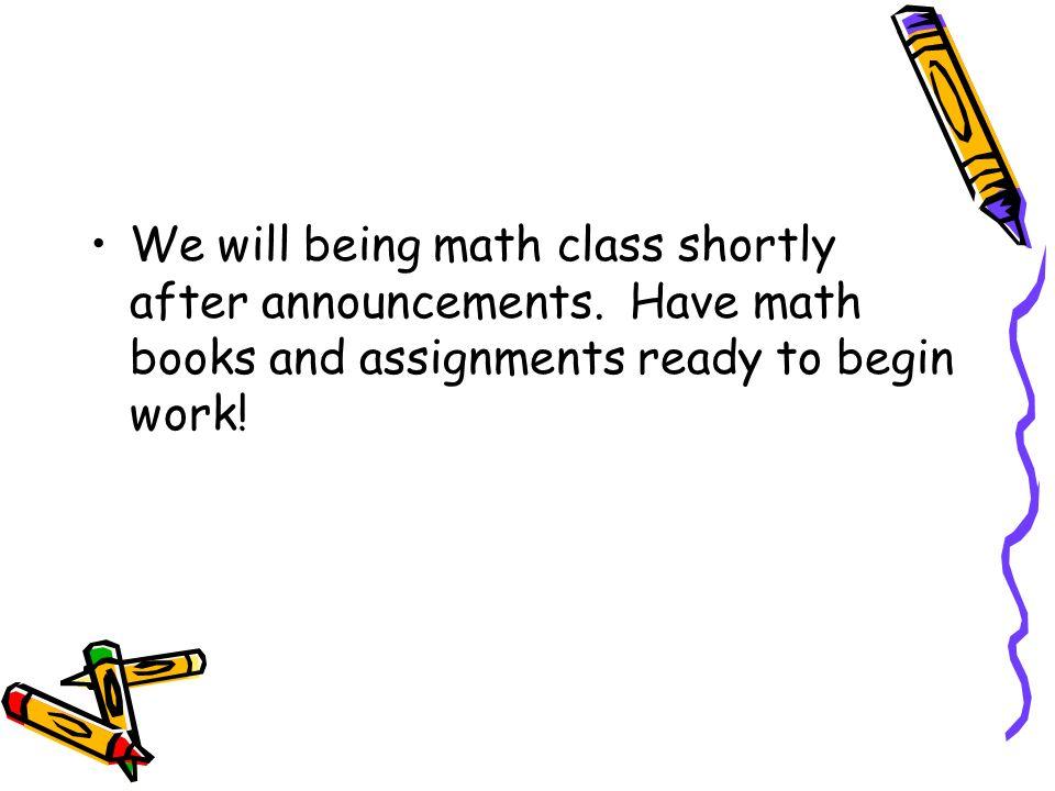 Math Time 8:15-9:15