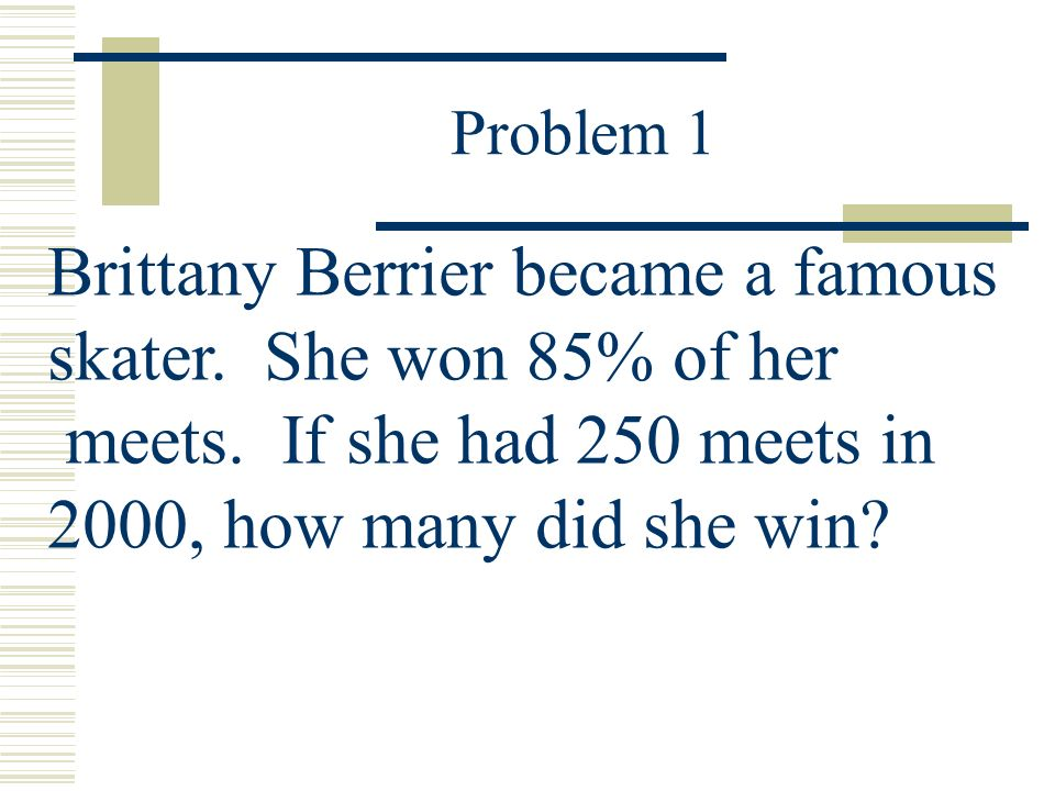 Problem 1 Brittany Berrier became a famous skater.