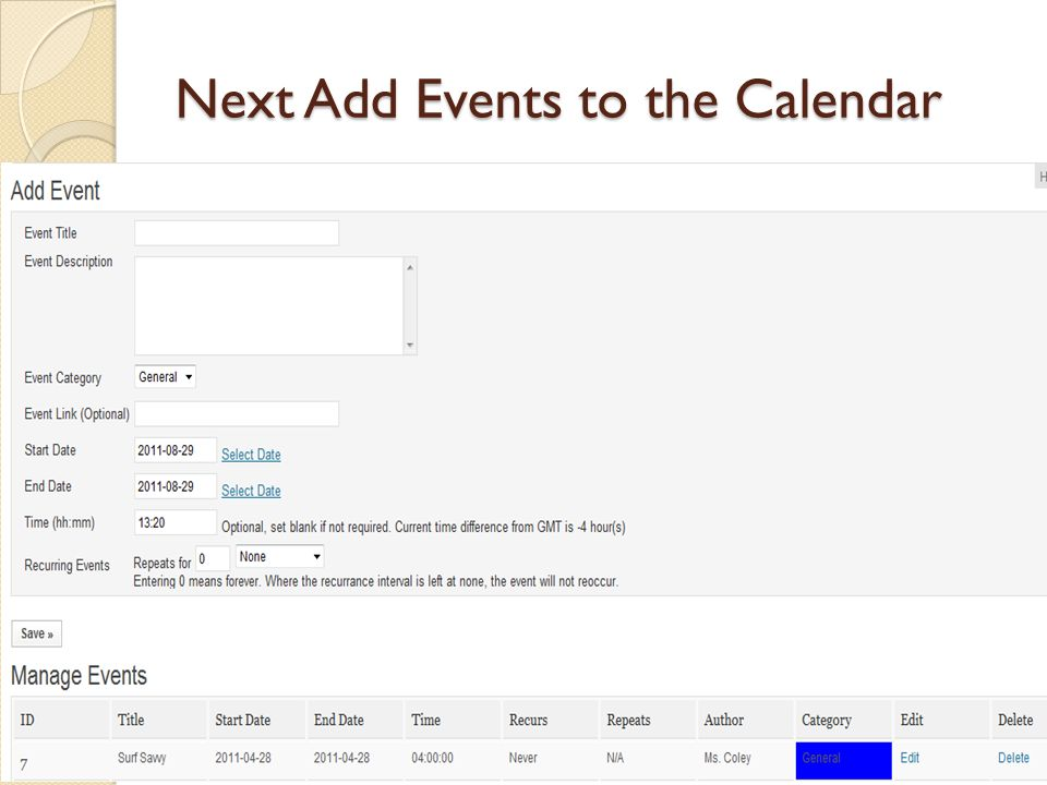 Next Add Events to the Calendar