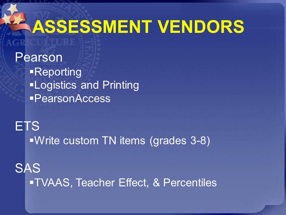 Pearson Reporting Logistics and Printing PearsonAccess ETS Write custom TN items (grades 3-8) SAS TVAAS, Teacher Effect, & Percentiles ASSESSMENT VEND