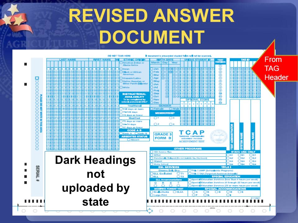REVISED ANSWER DOCUMENT From TAG Header From TAG Header Dark Headings not uploaded by state
