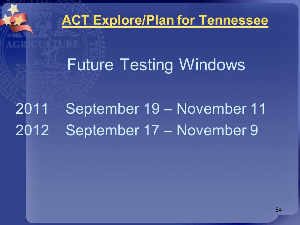 ACT Explore/Plan for Tennessee Future Testing Windows 2011 September 19 – November 11 2012 September 17 – November 9 54