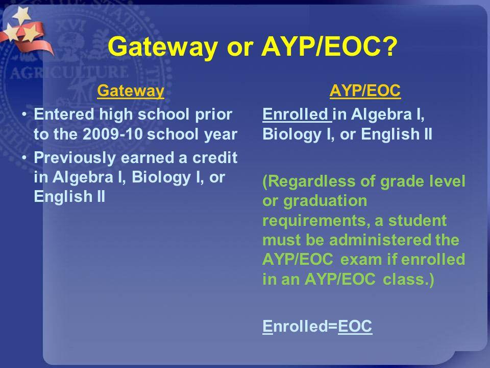 Gateway or AYP/EOC? Gateway Entered high school prior to the 2009-10 school year Previously earned a credit in Algebra I, Biology I, or English II AYP