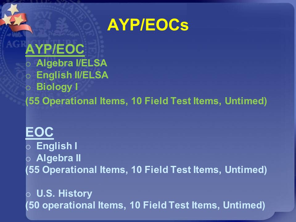 AYP/EOCs AYP/EOC o Algebra I/ELSA o English II/ELSA o Biology I (55 Operational Items, 10 Field Test Items, Untimed) EOC o English I o Algebra II (55