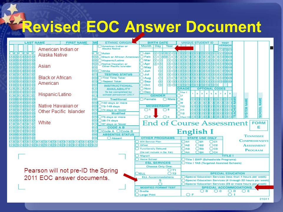 Revised EOC Answer Document American Indian or Alaska Native Asian Black or African American Hispanic/Latino Native Hawaiian or Other Pacific Islander