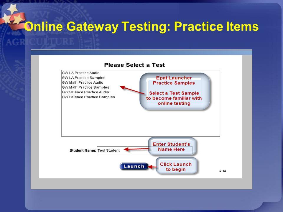 Online Gateway Testing: Practice Items