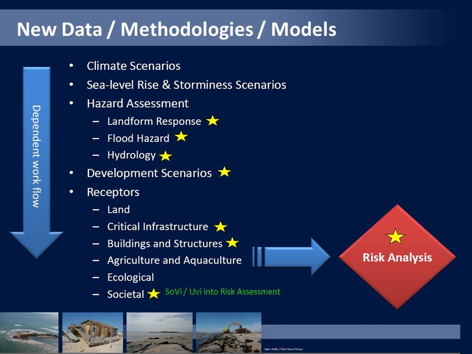 New Data / Methodologies / Models SoVi / Uvi into Risk Assessment
