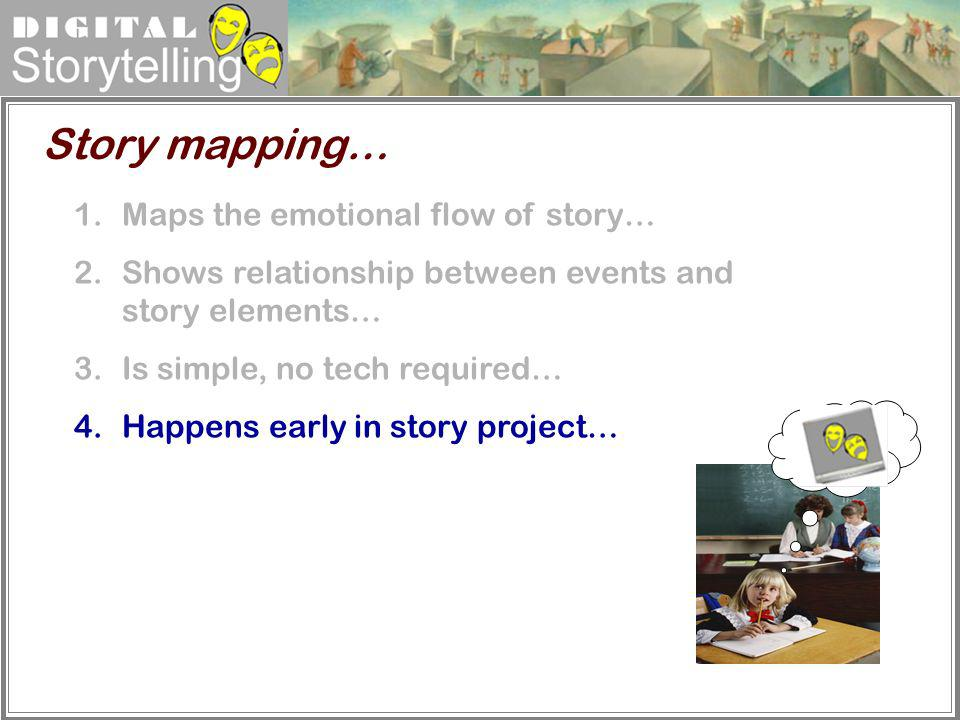 Digital Storytelling Story mapping… 1.Maps the emotional flow of story… 2.Shows relationship between events and story elements… 3.Is simple, no tech r