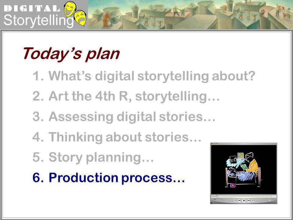 Digital Storytelling 1.Whats digital storytelling about? 2.Art the 4th R, storytelling… 3.Assessing digital stories… 4.Thinking about stories… 5.Story