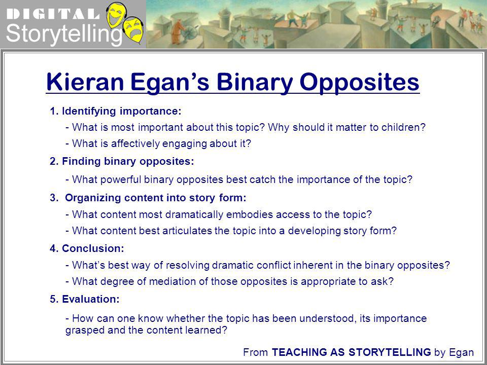 Digital Storytelling Kieran Egans Binary Opposites 1. Identifying importance: - What is most important about this topic? Why should it matter to child