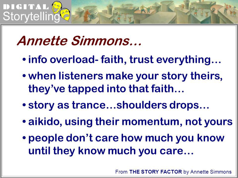 Digital Storytelling info overload- faith, trust everything… when listeners make your story theirs, theyve tapped into that faith… story as trance…sho