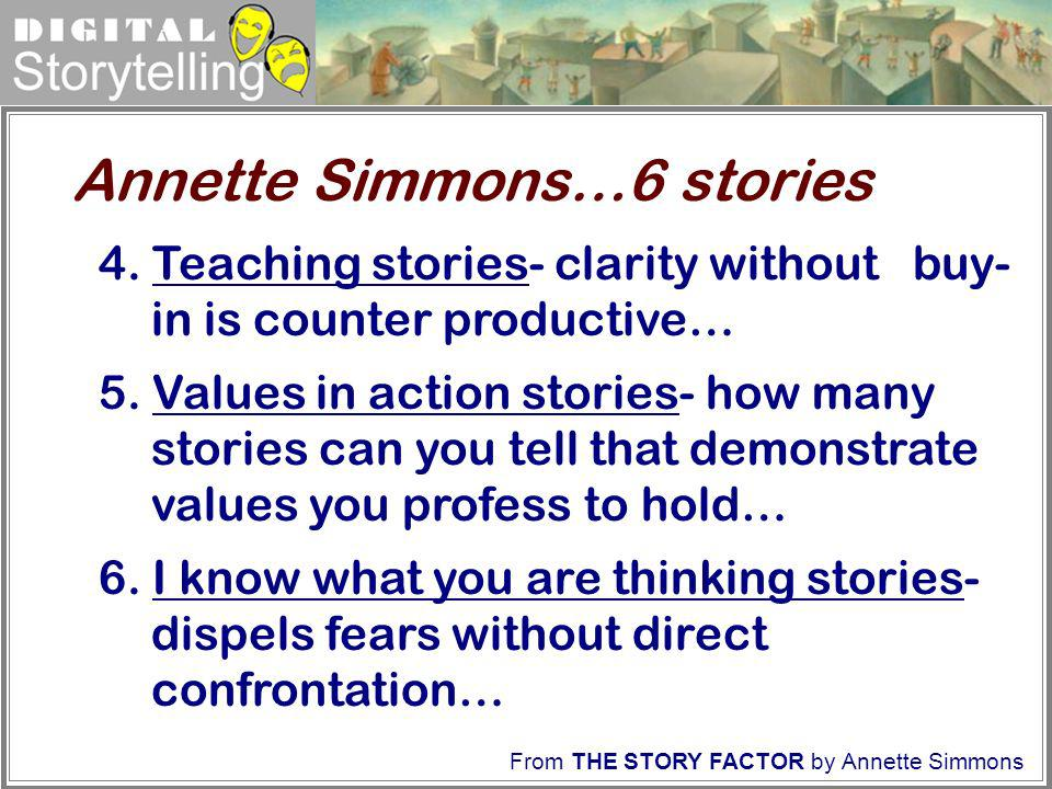 Digital Storytelling 4. Teaching stories- clarity without buy- in is counter productive… 5. Values in action stories- how many stories can you tell th