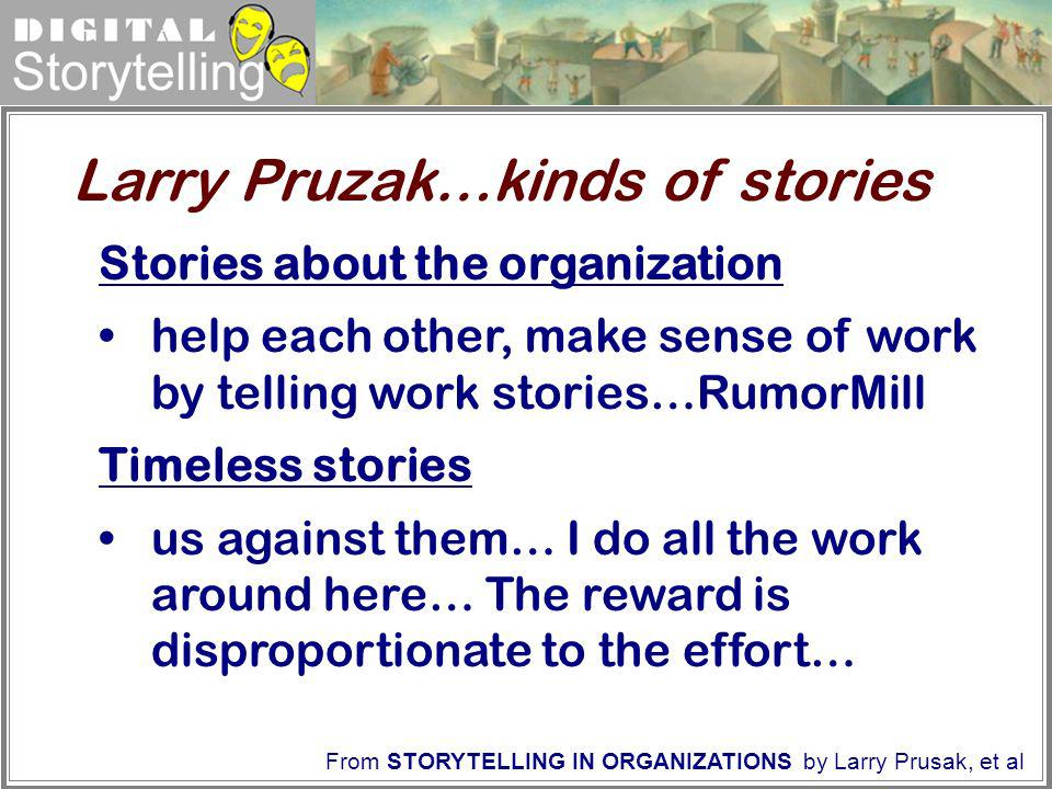 Digital Storytelling Stories about the organization help each other, make sense of work by telling work stories…RumorMill Timeless stories us against