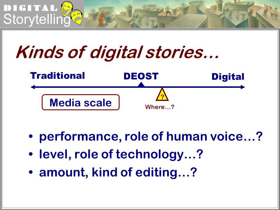 Digital Storytelling Digital Where…? Traditional DEOST ? Media scale performance, role of human voice…? level, role of technology…? amount, kind of ed