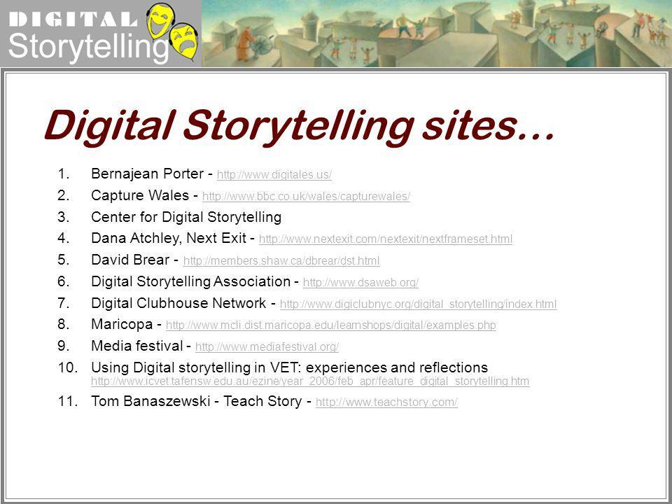 Digital Storytelling 1. Bernajean Porter - http://www.digitales.us/ http://www.digitales.us/ 2. Capture Wales - http://www.bbc.co.uk/wales/capturewale
