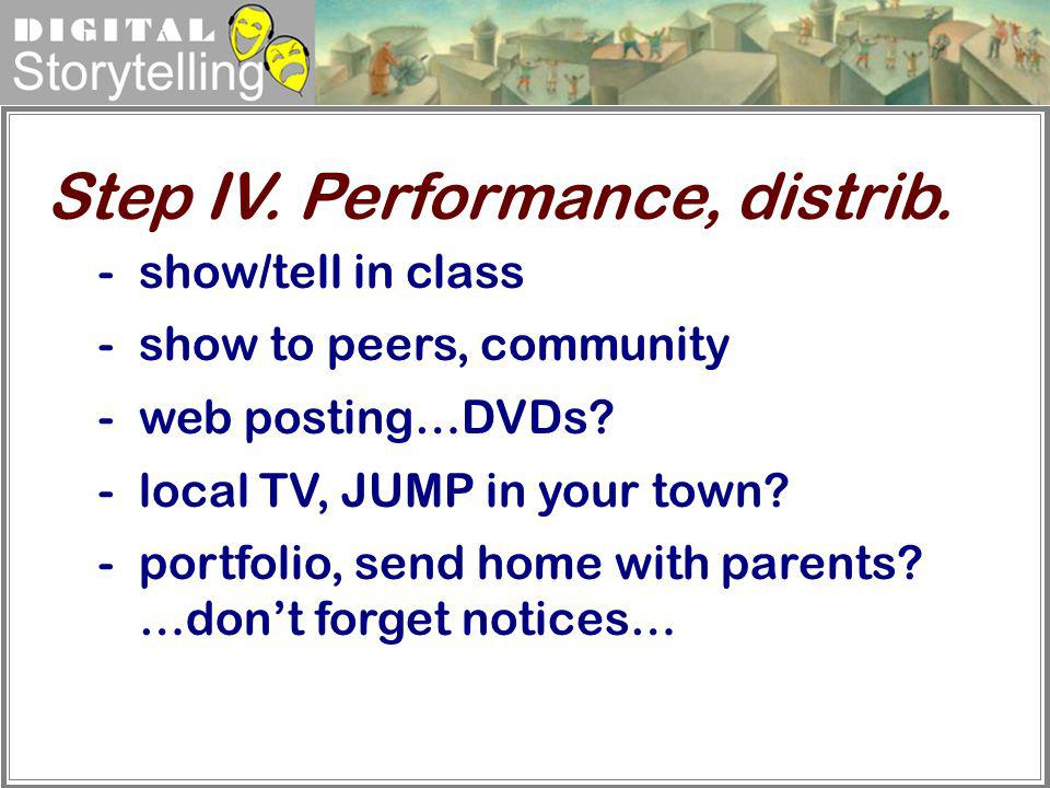 Digital Storytelling -show/tell in class -show to peers, community -web posting…DVDs? -local TV, JUMP in your town? -portfolio, send home with parents