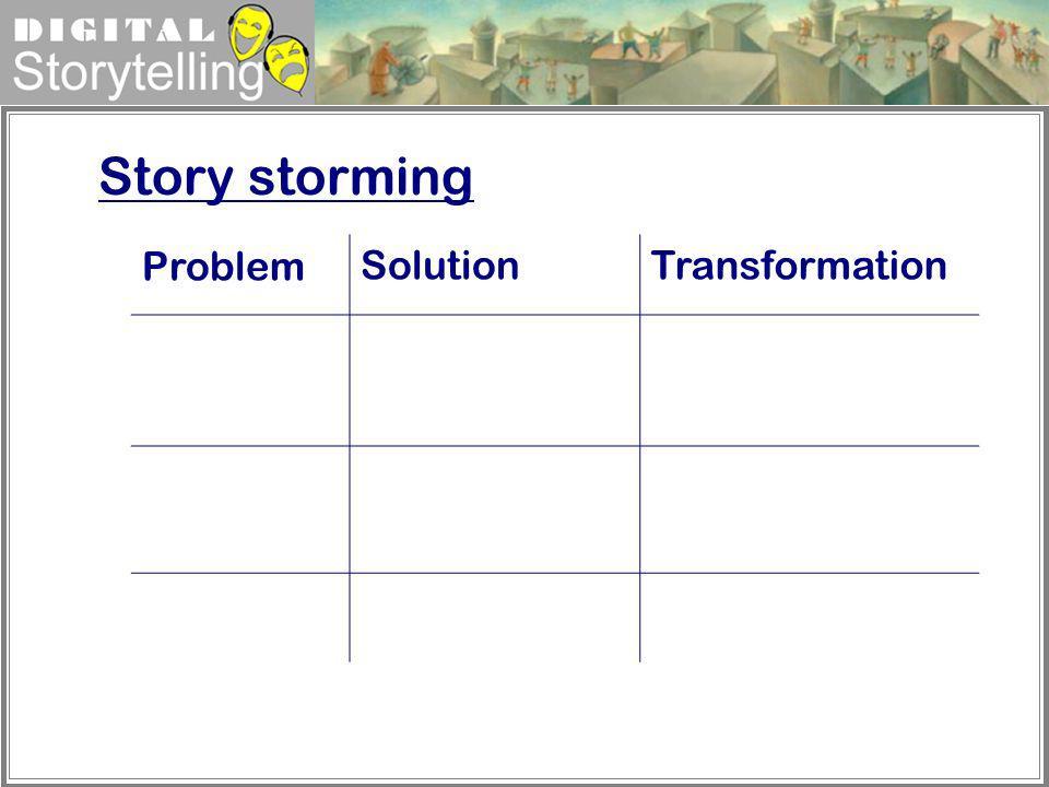 Digital Storytelling ProblemSolutionTransformation Story storming