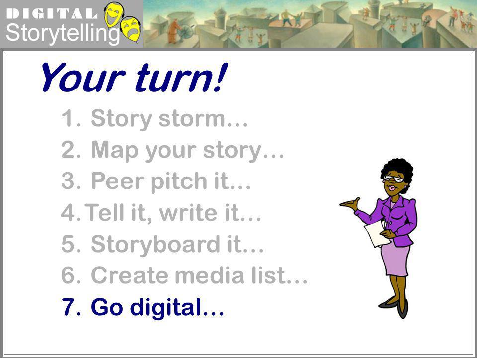 Digital Storytelling 1. Story storm… 2. Map your story… 3. Peer pitch it… 4.Tell it, write it… 5. Storyboard it… 6. Create media list… 7. Go digital…