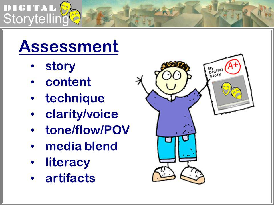 Digital Storytelling Assessment story content technique clarity/voice tone/flow/POV media blend literacy artifacts