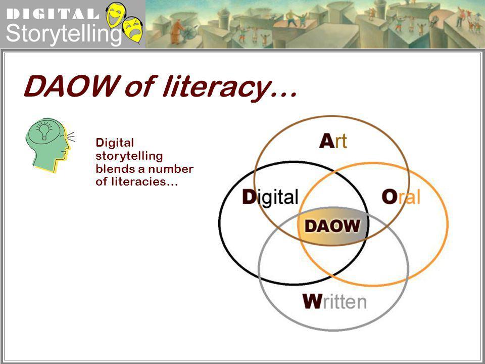 Digital Storytelling DAOW of literacy… Digital storytelling blends a number of literacies…