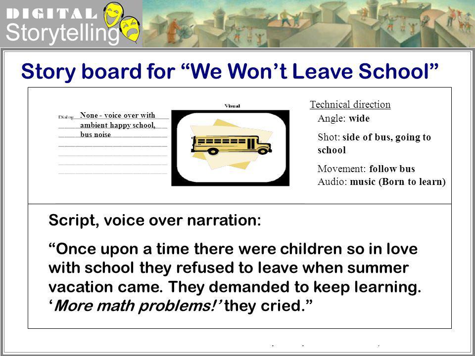 Digital Storytelling http://www.csupomona.edu/~wcweber/325/storybd.htm Teacher at door, greeting each child as they enter Script, voice over narration