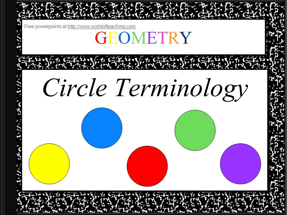 GEOMETRYGEOMETRY Circle Terminology Free powerpoints at http://www.worldofteaching.comhttp://www.worldofteaching.com